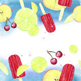 Watercolor ice-cream pattern Stock Photos