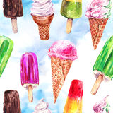 Watercolor ice cream seamless pattern Royalty Free Stock Photography