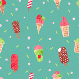 Watercolor ice cream seamless pattern. Stock Photo