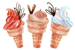 Watercolor ice cream set. Watercolor ice cream set isolated on white background. Hand painted illustration Royalty Free Stock Photography
