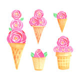 Watercolor ice cream set. On white background Stock Images