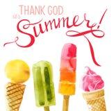 Watercolor ice cream with type design Stock Photos
