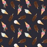 Watercolor ice cream vector pattern. Beautiful vector seamless pattern with tasty watercolor ice cream Royalty Free Stock Image
