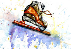 Watercolor Ice Skate Stock Image