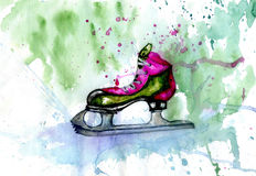 Watercolor Ice Skate Royalty Free Stock Photos