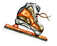Watercolor Ice Skate. Watercolor sport sketch, modern ice skate, hand painted illustration Stock Photo