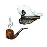 watercolor Icono marino Capitán-casquillo ilustración del vector
