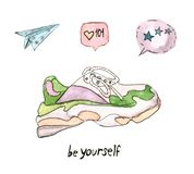 Watercolor icons set of fashion. Premium quality watercolor icons set of fashion, modern and popular elements in social networks. Fashionable sneakers and royalty free illustration