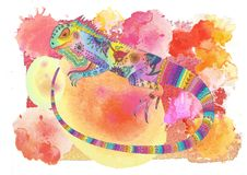 Watercolor iguana collage Royalty Free Stock Photo