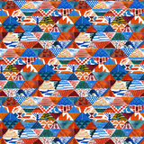 Watercolor ikat kilim patchwork ethnic seamless pattern. Geometric ornament in watercolour style stock illustration