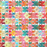 Watercolor ikat patchwork seamless pattern. Watercolor rhombus mosaic ikat patchwork seamless pattern Royalty Free Stock Image
