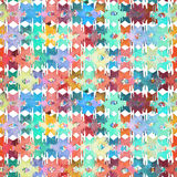 Watercolor ikat patchwork seamless pattern. Watercolor rhombus mosaic ikat patchwork seamless pattern Stock Image