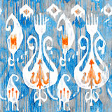 Watercolor Ikat seamless pattern. Decorative floral  in watercolour style. Bohemian ethnic . Stock Photo