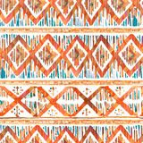Watercolor ikat seamless pattern. Vibrant ethnic rhombus  in watercolour style. Royalty Free Stock Photography