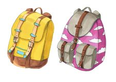 Set of colorful backpacks with pink sky ans clouds Stock Photos