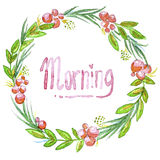 Watercolor illustrated greeting card. Vector floral greeting card. Morning Royalty Free Stock Photo