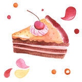 Watercolor illustration. With sweet cake Stock Photos