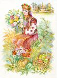 Watercolor Illustration. Beautiful young girl in Ukrainian costume with flowers Stock Photo