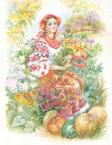 Watercolor Illustration. Beautiful young girl in Ukrainian costume with flowers Royalty Free Stock Photography