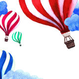 Watercolor illustration with air balloon and clouds. Hand drawn vintage collage  background. Stock Photography