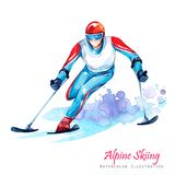 Watercolor illustration. Alpin Skiing. Disability snow sports. Disabled athlete riding by ski on snow. Active people. Man. Disability and social policy. Social Royalty Free Stock Photography