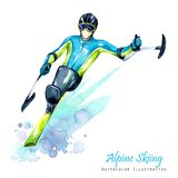 Watercolor illustration. Alpin Skiing. Disability snow sports. Disabled athlete riding by ski on snow. Active people. Man. Disability and social policy. Social Royalty Free Stock Image