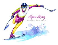 Watercolor illustration. Alpin Skiing. Disability snow sports. Disabled athlete riding by ski on snow. Active people. Man. Disability and social policy. Social Stock Photography