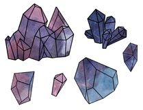 Geometric forms. Amethyst crystals, purple stone, mineral - watercolor illustration isolated on white background. Watercolor illustration of Amethyst crystals Royalty Free Stock Images