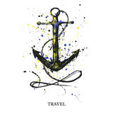 Watercolor illustration of an anchor on a white background. Vector Vector Illustration