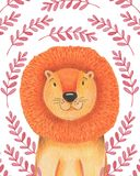 Watercolor illustration animal cute lion on a white background, heart,star,clouds. Hand draw illustration. Valentine`s card. Watercolor illustration animal cute Royalty Free Stock Photography
