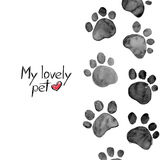 Watercolor illustration with animal footprints. Hand drawn watercolor illustration with animal footprints Royalty Free Stock Photography