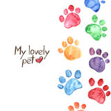 Watercolor illustration with animal footprints Royalty Free Stock Image