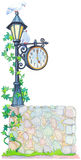 Watercolor illustration. Antique lantern with a clock Stock Photos
