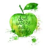Watercolor illustration of  apple. Stock Photo