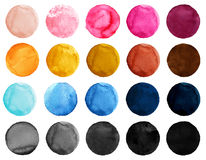 Watercolor Illustration for artistic design. Round stains, blobs of blue, pink, yellow, black and brown color. Set of watercolor shapes. Set of colorful Stock Photography