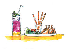 Watercolor Illustration Asian Fried Rolls Appetizer And Drinks Stock Image