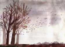 Watercolor illustration of autumn landscape Royalty Free Stock Photo