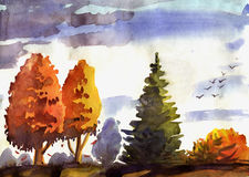 Watercolor illustration of autumn landscape. Isolated on white background Stock Images