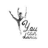 Watercolor illustration ballerina icon in dance. Design poster ballet school, studio Royalty Free Stock Photo
