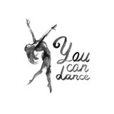 Watercolor illustration ballerina icon in dance. Design poster ballet school, studio Royalty Free Stock Photos
