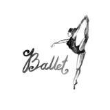 Watercolor illustration ballerina icon in dance. Design poster ballet school, studio Stock Images