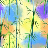 Watercolor seamless pattern illustration bamboo stock photography