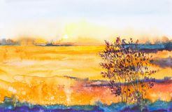 Watercolor illustration of a beautiful bright fall forest landscape at sunset
