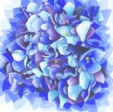 Blue petals of hydrangea flower. Watercolor illustration of beautiful hydrangea flower with blue petals and yellow core royalty free illustration