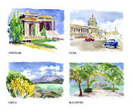 Watercolor illustration of beautiful nature views Royalty Free Stock Photos