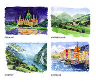 Watercolor illustration of beautiful nature views Royalty Free Stock Photos