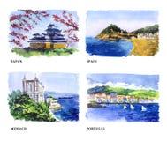 Watercolor illustration of beautiful nature views Stock Photos