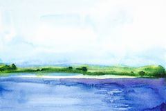 Watercolor illustration of a beautiful summer forest landscape by the lake.  vector illustration