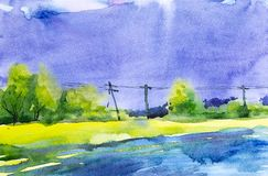 Watercolor illustration of a beautiful summer forest landscape by the lake. Power line in the background.  royalty free illustration