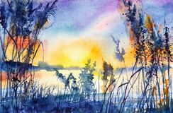 Watercolor illustration of a beautiful summer forest landscape by the lake.Sunset
